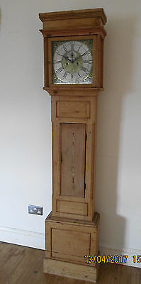 James Heron Newtown Wales 8 Day Longcase Grandfather Clock Brass Face Pine Case