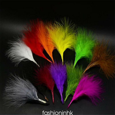 100pcs/Set 10 Colors Turkey Marabou Blood Feathers Fly Tying Material 6-12cm