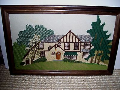"Vintage Fiber Textile Embroidery Framed Weaving Architecture 15"" x 22 1/2"""