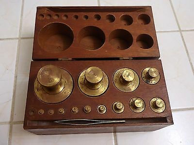 Antique Brass Scale Weights With Wooden Box Case