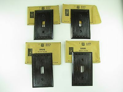 4 Vintage Brown Uniline Bryant Single Switch Plate Cover Ribbed Bakelite 91071