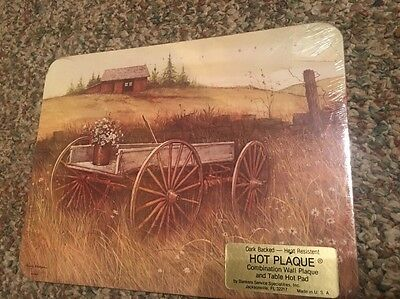 Hot Plaque Hot Pad Or Wall Plaque Flowers And Wagon