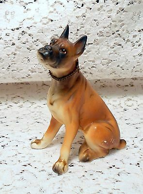 "Vintage Ceramic Boxer Dog Figurine w/Metal ""BOXER"" Neck Collar"