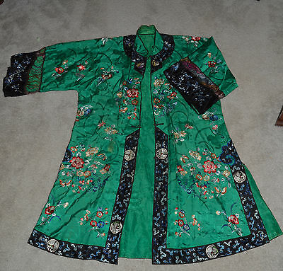 Chinese Jifu Qing Dynasty Embroidered Silk Rob with matching pants