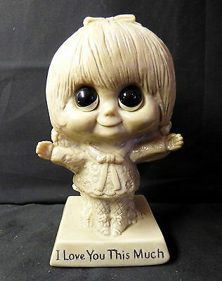 """I Love You This Much - W&R Berries 1970 Molded Figurine- Little Girl 6 1/4"""" Tall"""