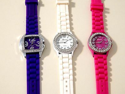 Lot Of 3 Ladies Geneva Wrist Watches * New Batteries * Ready To Wear *