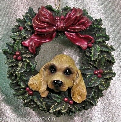 Cocker Spaniel in a Wreath Hanging Dog Christmas Ornament
