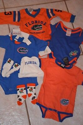 Lot 9 UF University of Florida Gators Baby Infant Clothes Outfits Socks Hat 1-Pc