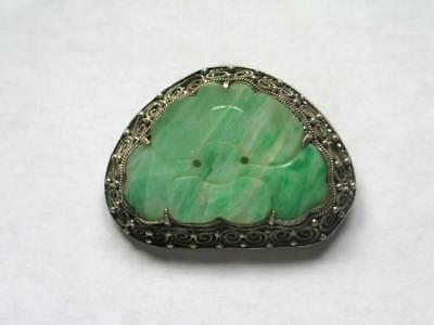 Antique Chinese Carved Jade Sterling Silver Filagree Brooch/Pin