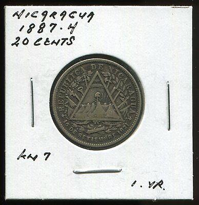 ** Nicaragua 1887.h  One Yr - 20 Cents Silver  **