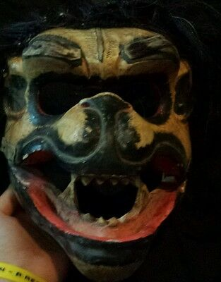 ANTIQUE BALI-INDONESIA HAND CARVED PAINTED WOOD MASK Rangda  Ooak Scary Mask