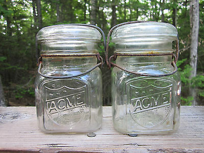 2 Vintage ACME Square Pint Canning Freezing Jars Full Neck Wire Bail, Lot #8