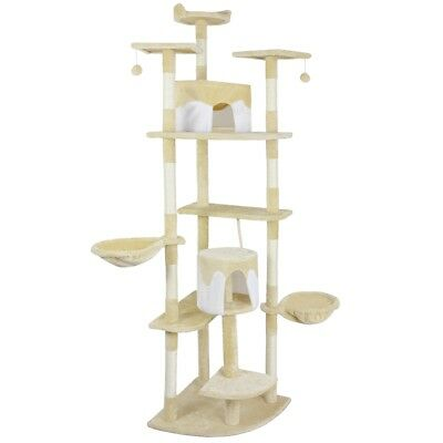 vidaXL Cat Tree Scratching Post 213 cm Yellow and White Activity Climbing Toy