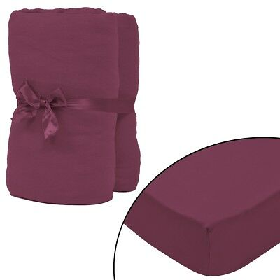 2 pcs Bed Fitted Sheet Cover 100% Cotton Jersey 180x200-200x220cm Burgundy