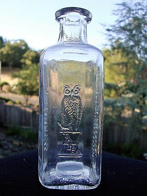 """Antique The Owl Drug Co. Square Standard Pharmaceuticals Clear 5"""" Bottle 1920's"""