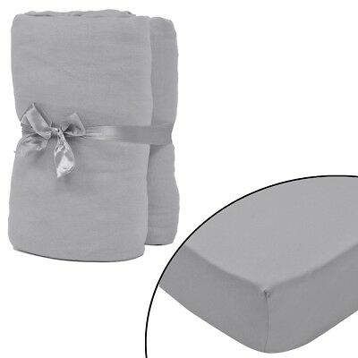 2 pcs Bed Fitted Sheet Cover 100% Cotton Jersey 180x200-200x220 cm Grey Bedding