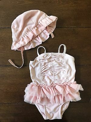 Old Navy Baby Girl Swim Bathing Suit One Piece With Hat Pink Tutu Ruffle 6- 44c6f4ea239
