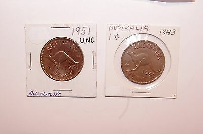 1943 & 1951, Large Penny Australia a Lot of 2 Very Nice Value Coins