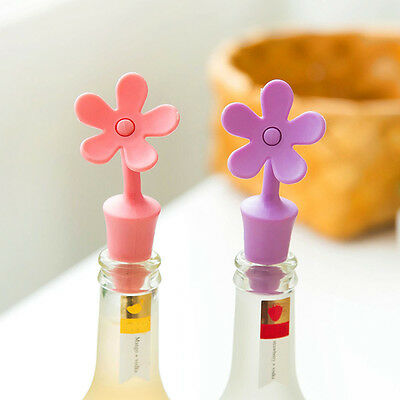 Silicone Flower Wine Beer Cover Bottle Stopper Cap Beverage Kitchen Bar Tool New