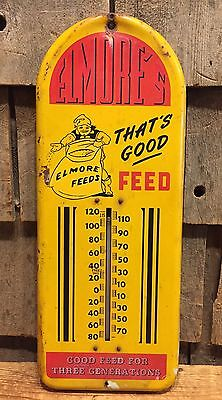 RARE Vintage Original ELMORE'S Feeds Farm Barn Thermometer Advertising Sign