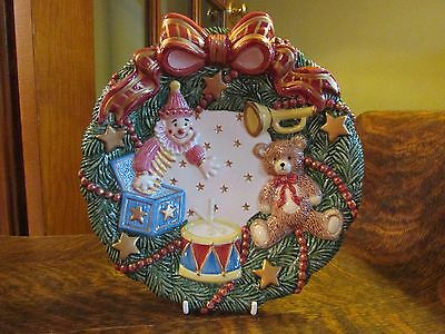 Fitz & Floyd Essentials Christmas  Plate W/ Jack In The Box And Teddy Bear
