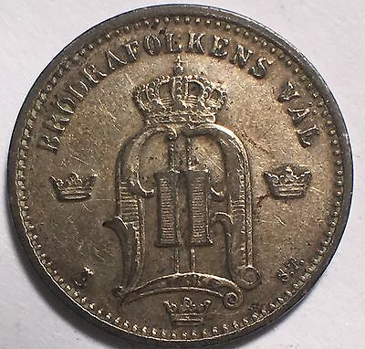 1874 St Sweden 25 Ore Km#378 Nice High Grade No Problem Coin