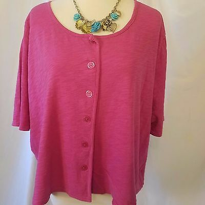 avenue 2 pc lot 22 24w pink &white slub cotton knit button up crop top shrug EUC