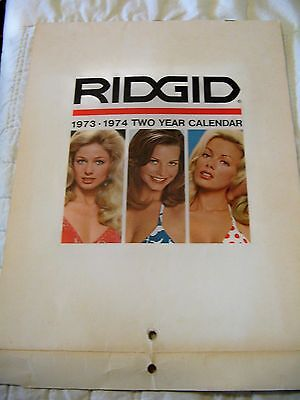 Estate Sale ~ Vintage Ridgid Tools 1973-1974 Two Year Calendar - Pin-Up Girls