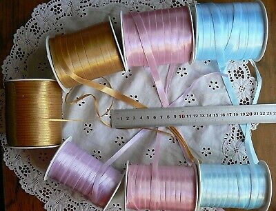 Reversible Satin Ribbon 3 colours 3, 7 & 10mm wide 5, 10, 20 metre MultiList BL