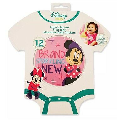 Disney Baby Minnie Mouse 1st Year Milestone Photo Prop Belly Stickers (Age 0-12)