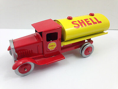 SHELL Oil Metal Tin Toy Truck Tanker Vintage Reproduction Diecast