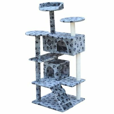 vidaXL 126cm 2 House Cat Tree Scratching Activity Post Grey with Paw Prints
