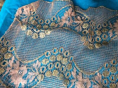 "1920's French Metallic Silk Lace Remnant 61"" X 14"