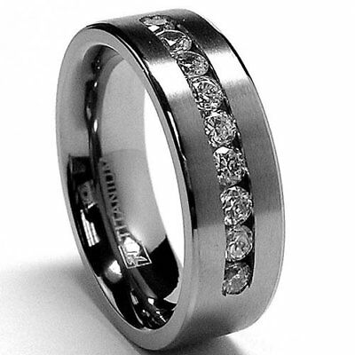Metal Masters Co.? 8 MM Men's Titanium ring wedding band with 9 large Channel...