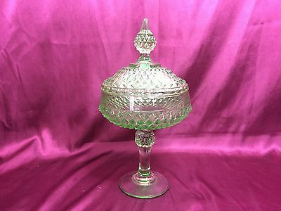 """Vintage Green Glass Pedestal Candy Dish with Lid, 12"""" Tall"""