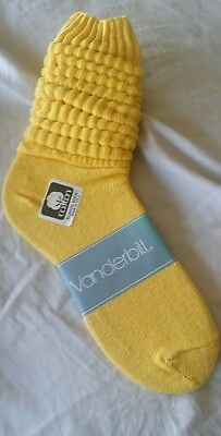 VINTAGE New Cotton SLOUCH Baggy Socks Bright Yellow - 1980's