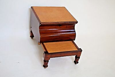 Cute Mahogany and Cane Pull Out Potty Commode Bedside Step Stool Chamber Pot