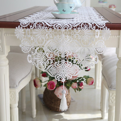 Ethomes White lace embroidered table runner with tassel for home decoration