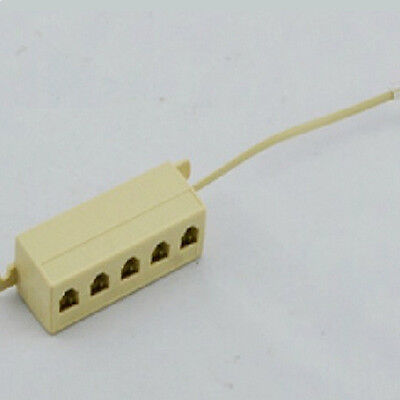 5 Ports Outlet Modular Jack Telephone Line Splitter Adapter Connector Cable