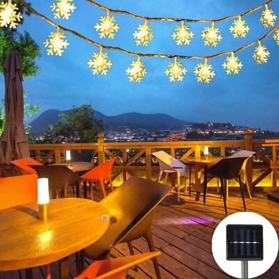 Solar String Lights 30LED Snowflak Fairy Lamp Wedding Party Christmas Decoration