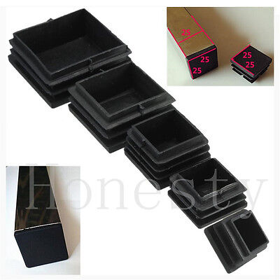 10~50X Plastic Black Blanking End Cap Square Tube Inserts Pipe Box 25/30/40/50mm