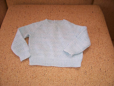 Hand Knitted Baby Jumper Pale Blue 9 -12 Months Approx Used