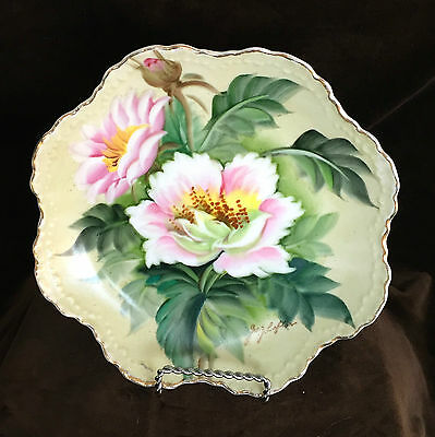 "Lefton 8"" Scalloped Hand Painted PINK ROSE Floral Plate – signed Geo Z. Lefton"