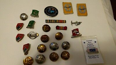 Vintage Us Military Medals Pins Buttons And Patches Lot Of 25