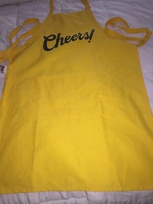 "Daystar Aprons Yellow ""Cheers!"" Style 215 two pocket bib apron ~ Made in USA"