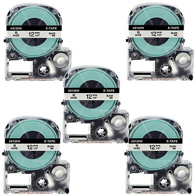 "5PCS Label Tape Compatible for SS12KW 12mm (1/2"") Black on White for Epson LW300"