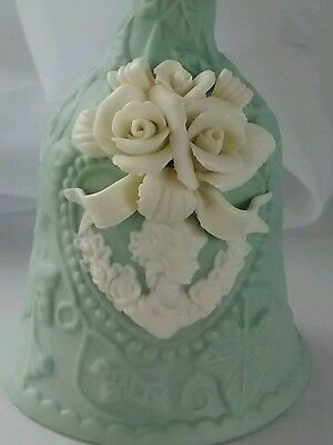 Bell Green Porcelain Scrolled Ivy White Cameo Roses Carved Vintage Collectable