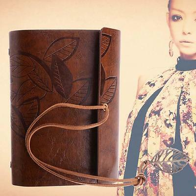 Retro Leather Vintage String Leaf Blank Diary Notebook Journal Sketchbook BRN DA