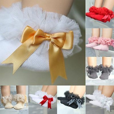 Sweet Baby Kids Girls Lace Ruffle Frilly Ankle Socks Princess Cotton Short Socks
