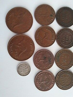 12 Vintage Australia Coins From 1916 To 1943 Half Pennies & Pennies & 3 Pence